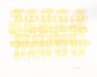 Original Watercolor Painting, Modern Abstract Art, Minimalist Art, Yellow
