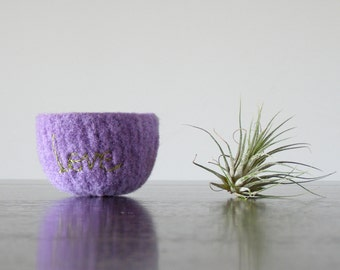 "lavender felt wool bowl with light green ""love"" embroidery  - felted wool bowls by the Felterie -"