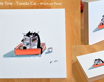 Quality Toilet Time- Tuxedo Cat - Work on Panel - Ready to Hang - Funny Cat Art- Cat Print- Art for Bathroom - Wall Art