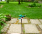 Glass Fairy garden micro mini accessory - tiny hummingbird - made to order