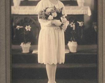 vintage photo Teenage Communion Girl Flowers Bouquet White Dress Hose Shoes Yonkers NY