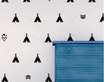 Set of 68 Tribal Decals Teepee arrow triangle kids room wall decal stickers