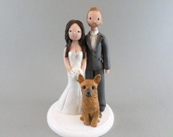 Bride & Groom with a Dog Custom Wedding Cake Topper