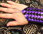Made To Order PAIR Scale Mail Half Gauntlet two tone black and purple dragonscale LARP cosplay