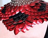 Black And Red ScaleMail Gorget Choker Stainless Steel Punk Rock Dragonscale  Necklace Armor Cosplay