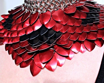 Custom Order Black And Red ScaleMail Gorget Choker Stainless Steel Punk Rock Dragonscale  Necklace Armor Cosplay