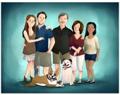 Custom Family Portrait Cartoon (Full Color Complex style) - Custom Cartoon portrait. Custom Portrait Family drawing. Valentines day