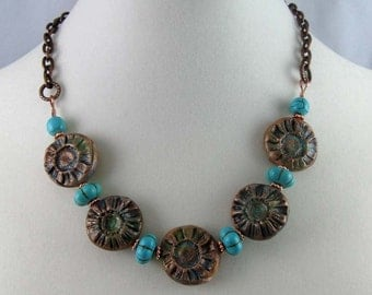 Copper Daisy Flower Necklace, mixed media and gemstone beads on antique copper finish chain, adjustable length