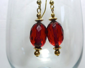 Karina's Small Art Deco Faceted Cherry Amber Bakelite Dangle Earrings 16mmX10mm Gold Tone Ear Wires and Findings