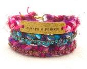 Always and forever bohemian bangle bracelet, ethnic friendship bracelet with sari silk, inspirational bracelet, hand stamped tag bracelet