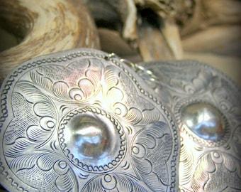 Large Silver Earrings, Southwest Earrings, Bohemian Jewelry, Boho Earrings, Statement Earrings, Tribal Earrings, Large Round Native Earrings
