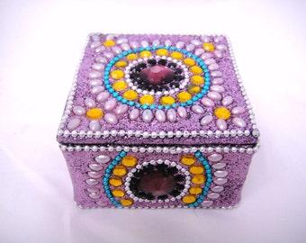 Vintage Purple Jeweled Trinket Box