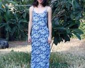 90s grunge, ALL THAT JAZZ romantic blue floral spaghetti strap slip dress, tea length. So Called Life, Friends