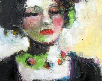 Female Portrait, Decorative Art, Original Oil Painting, Black Haired Woman, Figurative Art, Colorful Necklace, 8 x 10, Free Shipping