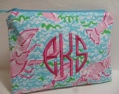 Lilly Pulitzer Fabric Lobstah Roll Monogrammed Preppy Cosmetic Bag//Holiday Gift/Preppy/Sorority/Southern