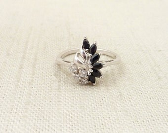 Size 9.25 Vintage Synthetic Sapphire And Cubic Zirconia Sterling Ring
