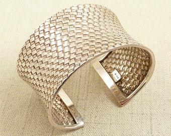 SALE ----- Vintage Sterling Basket Weave Cuff Bracelet