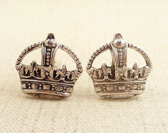 Vintage Sterling Crown Cuff Links