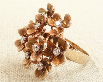 Size 6 Vintage Goldwashed Sterling Flower Bouquet Ring with Glass Accents
