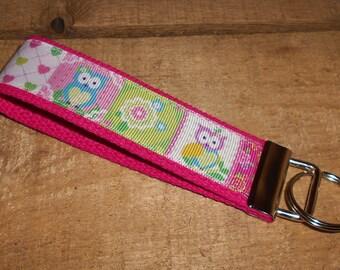 Sweet Owls Key Fob Wristlet