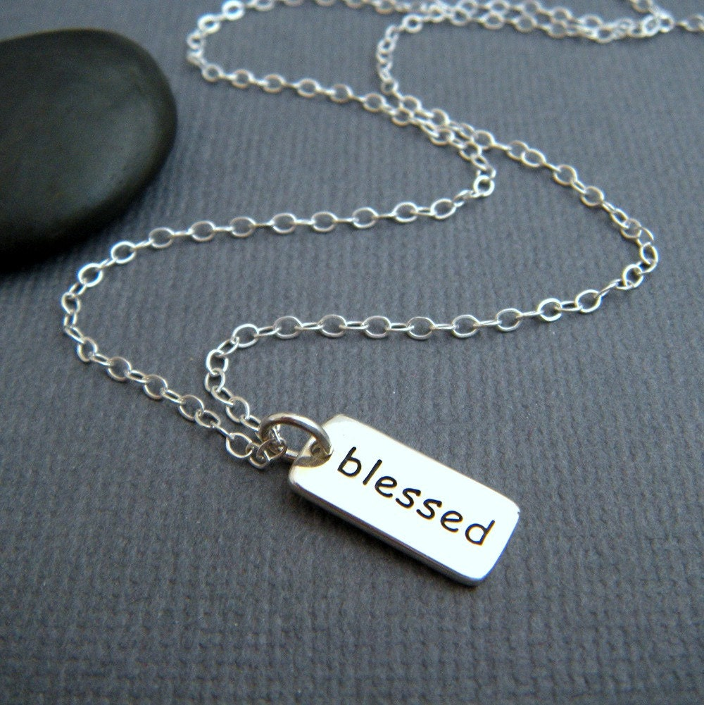 silver blessed necklace tiny sterling silver faith jewelry
