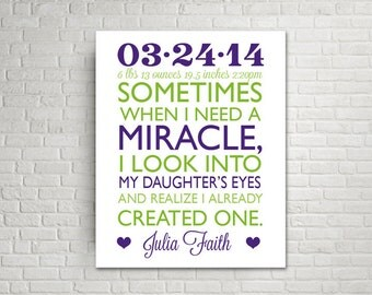 Custom Canvas Ready to Hang Wall Decor, Nursery Decor, New Mom Gift, Love Quote, Miracle Baby, Canvas Print, Words on canvas, Custom colors,