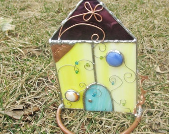 Yellow Fairy House Stained Glass and Copper Fantasy Home or Garden Decor