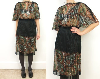 Black and Paisley XS/S striped dress // Dolman sleeve // boat neck // sheer // 80s