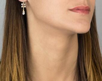 Garnet Pearl Gold Filled Jasmine Flower Earrings, Garnet Jewelry, Pearl Earrings, Wire Wrapped Earrings, Handmade Jewelry