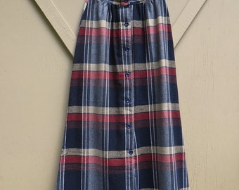 70s vintage High Waist Navy Blue and Red Plaid Wool Tweed Maxi Skirt