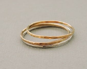 SALE Gold and Silver rings skinny Stacking Rings Thin Gold Rings Silver Ring minimalist gift for women