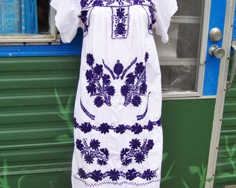 Mexican Dress Embroidered Flowers on White Cotton size S
