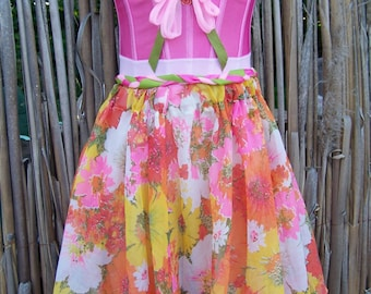 Strapless Dress, Party Dress, Corset dress, Floral dress,  Pink party dress, size S / M
