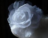 SALE Silk and Organza Rose in WHITE for Bridal, Bouquets, Hats MF 137