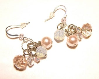 20% OFF --- Shades of Pink Silver Dangle Earrings - Glass and Pearls