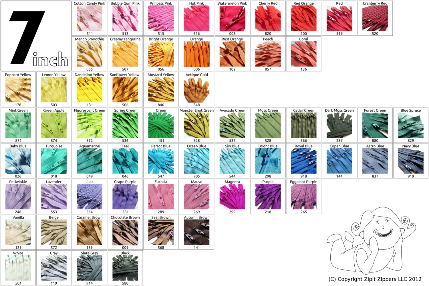 5 mix and match 7 inch ykk zippers choose your own colors - Colors that match with black ...