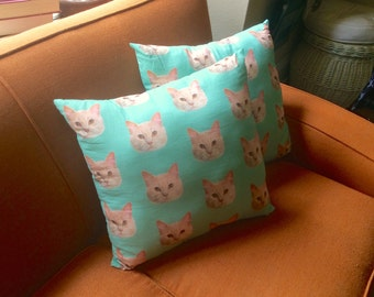 One Pair of Matching Pet Portrait Pillows