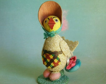 Vintage Spun Cotton Mica Crepe Paper Mama Easter Chick Figurine
