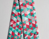 Camera Strap Cover- lens cap pocket and padding included- Cottage Triangles in Teal