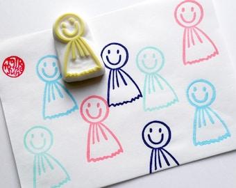 japanese boy doll stamp. teru teru bozu hand carved rubber stamp. fairy stamp. good weather charm. birthday scrapbooking. spring crafts