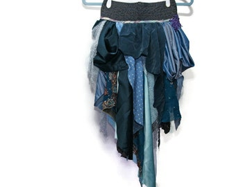 upcycled clothing, upcycled fashion, wearable art, tattered bustle . tangled up in blue . XS - S