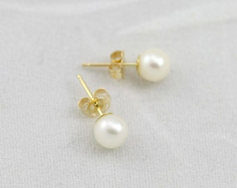 Pearl Posts in 14k Yellow Gold