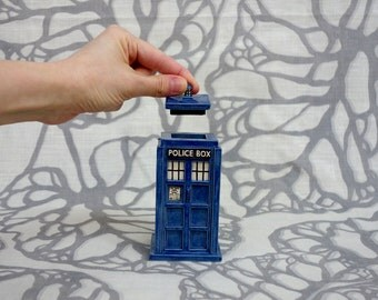 Mini TARDIS Ceramic Jar: little blue box container Made-to-Order
