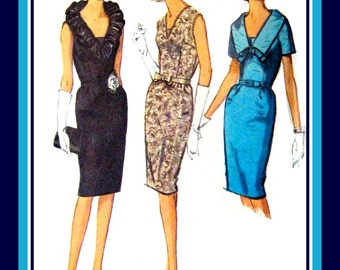 Vintage 1964- COCKTAIL WIGGLE DRESS-Sewing Pattern-Three Style-Sexy Neck Ruffle-Lovely Lace Overlay-Shaped Collar-Bow-Uncut-Size 18-Rare