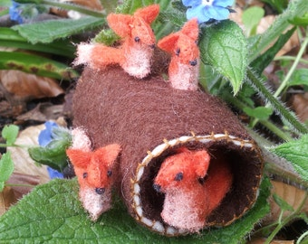 Tiny Hollow Log Fox Den - with vixen and 3 kits - miniature fox cubs mother baby collectables set