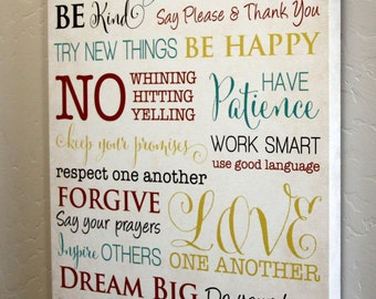16x24 Tricolor Family Rules Canvas Wrap