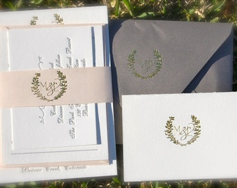 Gold Foil Wedding Invitation featuring Letterpress in Gold and Charcoal with a Laurel Monogram