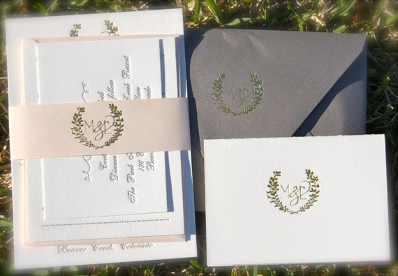 Gold Foil Wedding Invitation featuring Letterpress in Gold and