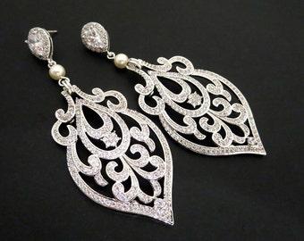 Bridal earrings, Crystal Wedding earrings, Chandelier Earrings, Bridal jewelry, Art Deco Earrings, Vintage earrings, AMELIA