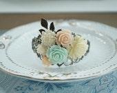 Mint Peach, Ivory Flower Adjustable Cuff Bracelet. Vintage Style, Floral Bridesmaid Gifts. Mint Wedding Cuff. Bracelet Jewelry. Rustic Peach